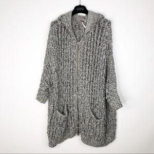Free People Oversized Marled Hood Zip Up Sweater